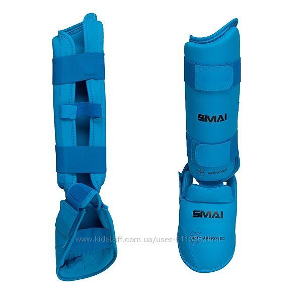 Защита голени и стопы Smai для Каратэ WKF. Синяя.