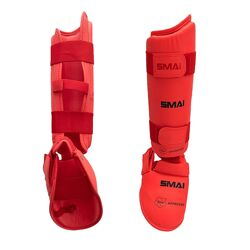 Защита голени и стопы Smai для Каратэ WKF. Красная.