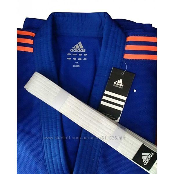 Дзюдоги Adidas J350 Club. Синее с оранжевыми погонами.