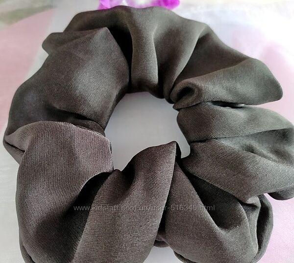 Шелковая резинка для волос темная матовая, натуральный шелк, Украина купить