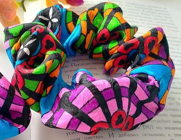 Шелковая резинка для волос разноцветная яркая, 100 шелк, Украина купить