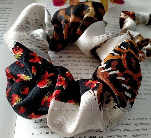 Шелковая резинка для волос, узор Пэтчворк, 100 шелк, Украина купить