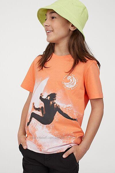 Бавовняні футболки з принтами для хлопчиків 8-14 років фірми H&M Швеція