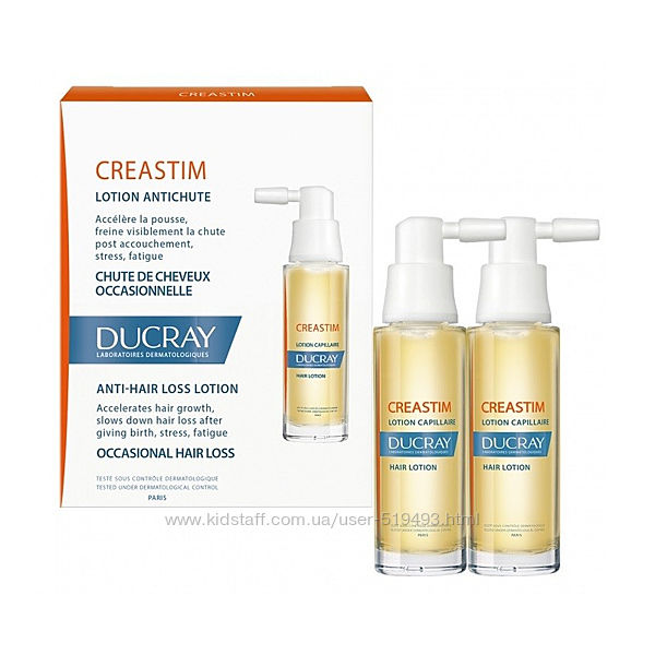 Лосьон против реактивного выпадения волос Дюкрей Креастим Ducray Creastim Anti-Hair Loss Lotion 2 флак по 30мл