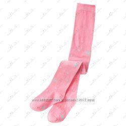 Розовые колготки GYMBOREE с блестящими снежинками - размер 3-4 года