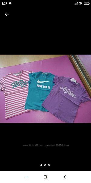Набор спортивных футболок Nike, Adidas на девочку 8-10 лет