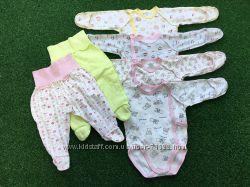 Комплект одежды бодики и ползунки для новорожденного  на 0-4 мес