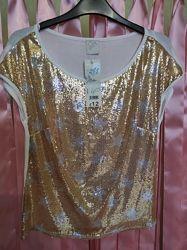 Бомбовые футболки с золотыми паетками Новое George