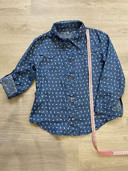 Рубашка на девочку 5-7 лет из тонкого джинса