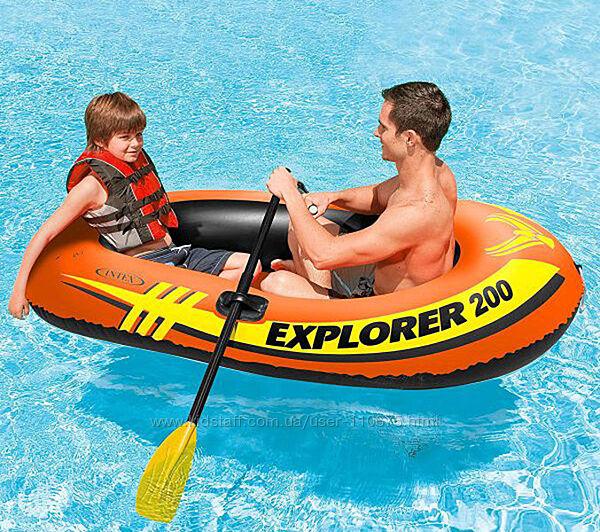 Надувная лодка с веслами и насосом 185х94х41см, Intex
