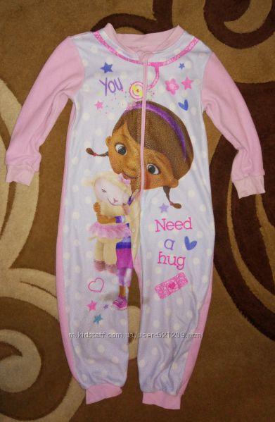 Теплая флисовая пижама человечек слип для девочки на 3-4 года.