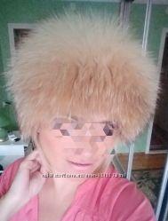 шапка парик Барбара   меховая вязаная лисья рыжа лиса  натуральный мех