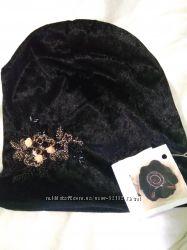 Бархатная черная мраморная брендовая шапка ms divile sopyte с украшением