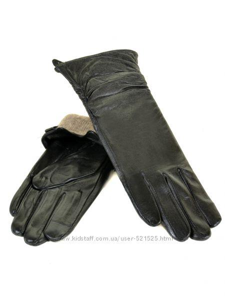 Женские кожаные удлиненные перчатки