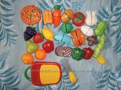 Разрезные продукты овощи фрукты еда на липучке нож досточка пицца  25 дет