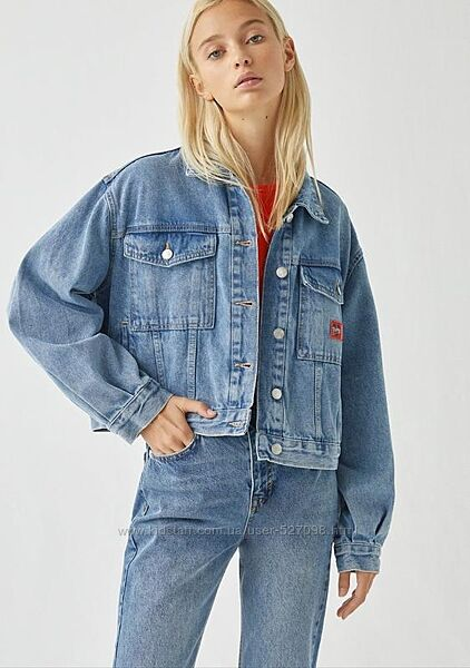 Крутой джинсовый пиджак оверсайз размер с/м