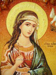 Святая Ирина именная икона из янтаря Ікона бурштин натуральний