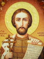 Александр именная икона из янтаря
