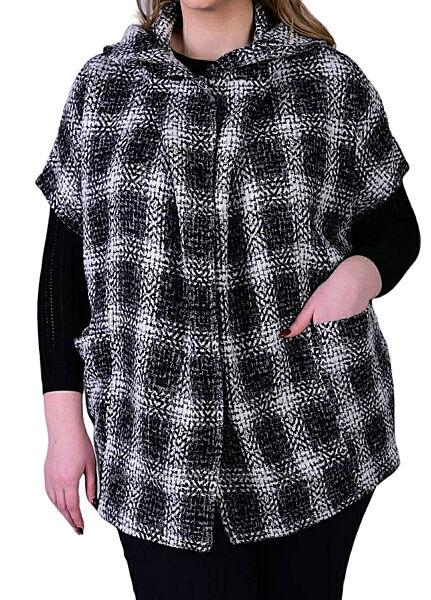 Модное и стильное пончо пальто в клетку, куртка стиль бохо, большой размер