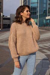 Теплый и мягкий свитер оверсайз с объемным узором , 8 расцветок