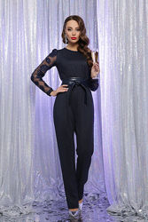 Элегантный нарядный комбинезон в черном и синем цветах