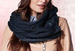 Красивый женский вязаный теплый шарф на пуговицах с блеском ТСМ Tchibo