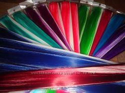 Цветные пряди трессы на заколках опт однотонные и омбре