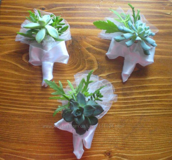 Весільні бутоньєрки із живих рослин для нареченого