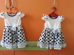 Нарядные платья для двойни р. 80-98 см