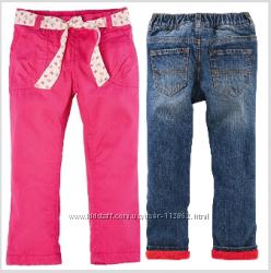 Яркие штанишки на флисе Lupilu и джинсы на флисе Oshkosh