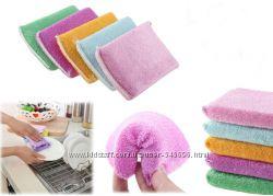 Бамбуковая губки, мытье посуды без моющего, теплой водой, эко средства