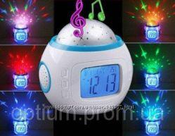 Ночник с часами музыкальный календарь термометр таймер будильник UI-1038