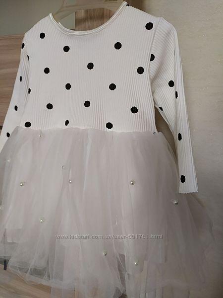 Нарядное платье с фатином и бусинками
