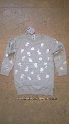 Новый свитер для девочки светло серого цвета h&t 1-7 лет
