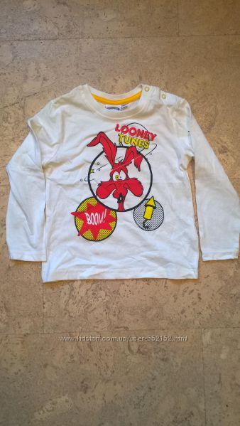 Реглан футболка на мальчика  ТМ Looney Tunes цвет белый 9-30 мес.