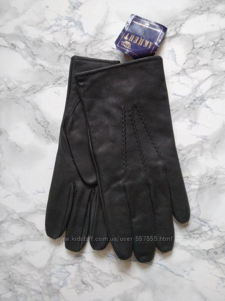 Новые муж перчатки из матовой натуральной кожи с полушерстяной подкладкой