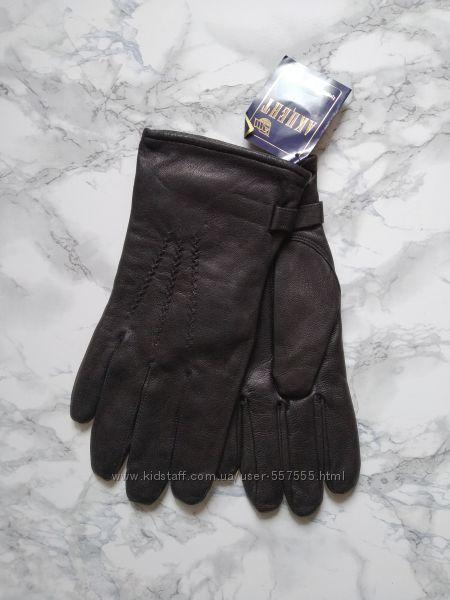 Новые мужские перчатки из натуральной кожи с полушерстяной подкладкой