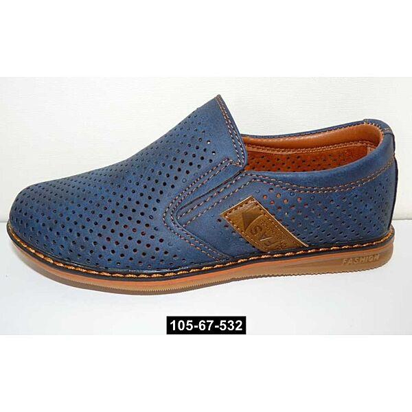 Перфорированные мокасины, туфли для мальчика, 36 размер, школьные, супинатор, 105-67-532