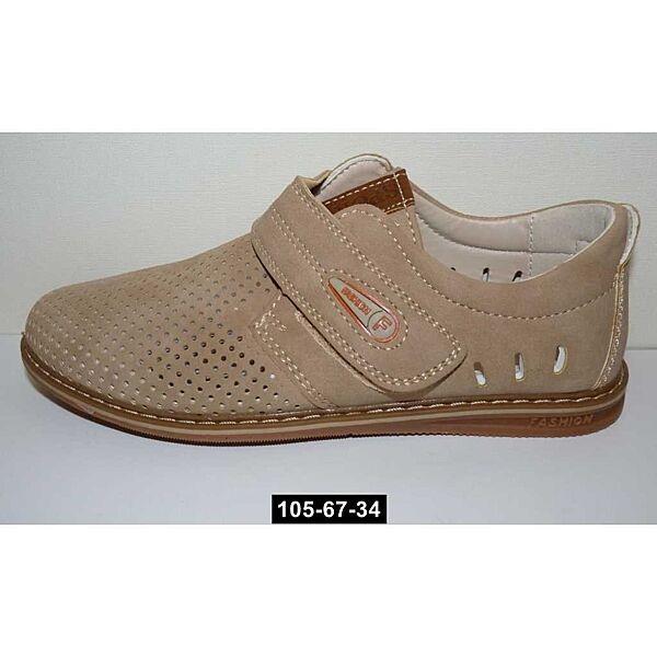 Летние мокасины, туфли для мальчика, 36 размер, школьные, супинатор, 105-67-34
