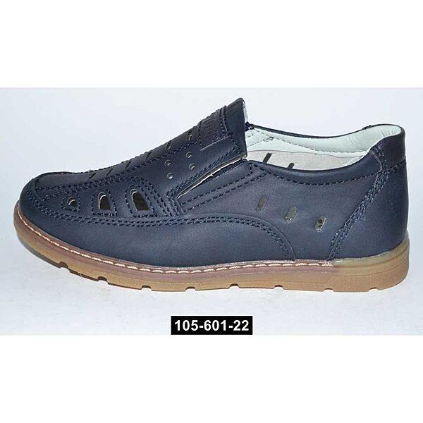 Летние мокасины, туфли для мальчика, 27,29 размер, школьные, супинатор, кожаная стелька, 105-601-22
