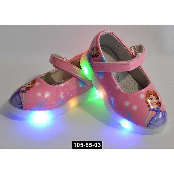 Светящиеся туфли для девочки, 21,22,23,24 размер, кожаная стелька, супинатор, 105-85-03