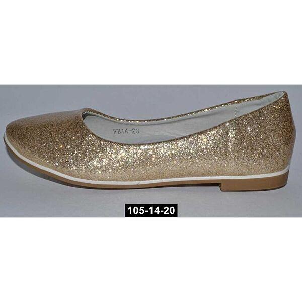 Золотые балетки, туфли для девочки, 30,31,32,33,34,35,36,37 размер, кожаная стелька, супинатор, 105-14-20