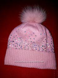 Модная ангоровая тёплая  шапочка