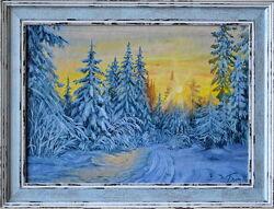 Картина маслом Зимний лес .