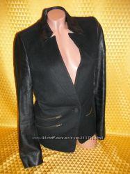 Женский кашемировый пиджак, рукава - кожзам.