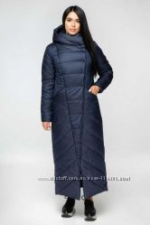 Женское зимнее длинное пальто с капюшоном