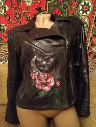 Эксклюзивная косуха натуральная кожа, кожаная куртка с ручной росписью