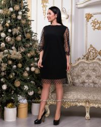 Вечернее платье с сеткой в горошек