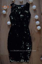 Вечернее очень шикарное нарядное красивое платье с двухсторонней паеткой