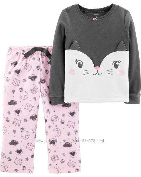 Новые Carters красивенные теплые флисовые пижамы 2Т, 3Т, 4Т, 5Т, 6, 7, 8, 1